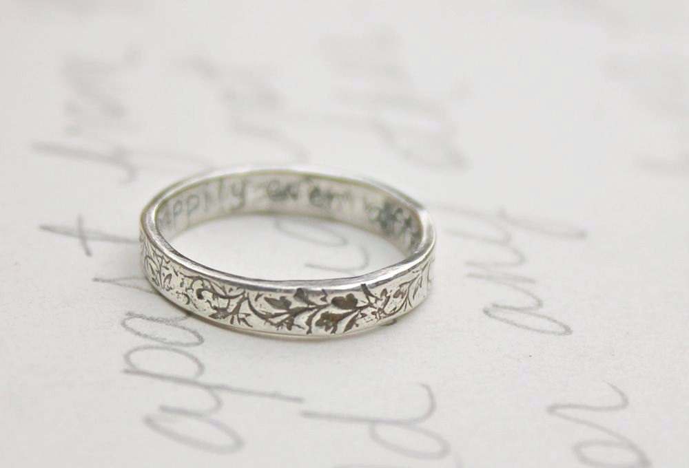skinny thin wedding band ring with vines by peacesofindigo
