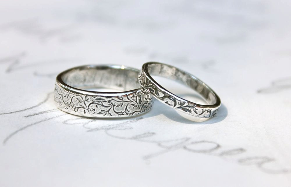 Recycled Silver Vine Leaf Wedding Band Ring Set By Peacesofindigo