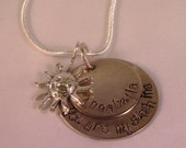 2 Disc Sterling Silver You are My sunshine Hand stamped pendant and chain