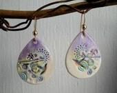 Purple jumbley teardrop porcelain earrings