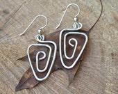 Modern Triangle Sterling Silver Earrings
