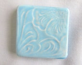 Square Pottery Cabochon Bead Bright Turquoise