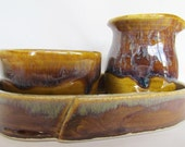 Creamer and Sugar Packet Set Amber and Brown by Centered ClayWorks