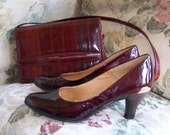 Cranberry Pumps, Patent Leather Pumps, Christmas, Sofft red shoes, Ruby Slippers, Red pumps, size 8.5