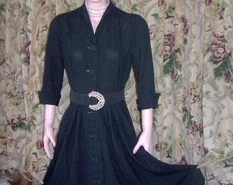 SALE, 50s Designer Dress, Little Black Dress, MCM Dress, Mad men dress, Sale Dress, size S