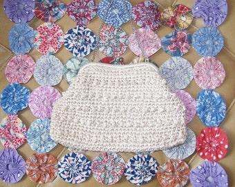 SALE, Crochet  Bag, white crochet bag, crochet clutch,  Summer Day bag, Summer clutch
