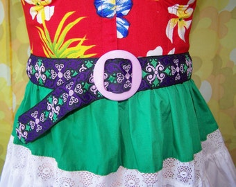 Cinch Belt,  Purple belt, Violet cinch belt, Embroidered belt, Purple cinch belt, size S / M