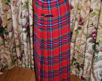 Scottish Tartan Skirt, Red Tartan skirt, Red plaid skirt, Long Tartan, Red plaid tartan, Red wool skirt, size S