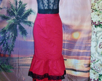 SALE, Red Skirt, Western skirt, Saloon Barmaid, Costume, Ruffle + Lace skirt, size  S / M