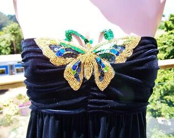 Strapless dress, Black Velvet dress, Strapless black dress, Butterfly dress, Velvet Butterfly Dress,  size S