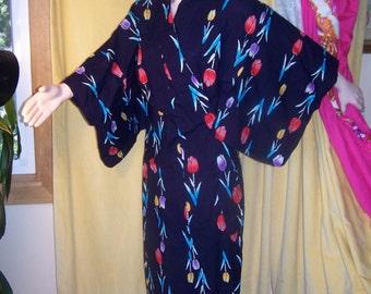 SALE, Japanese Kimono,  Cotton Kimono,  Blue floral robe,  Asian tulips robe,  traditional Kimono robe,  osfm