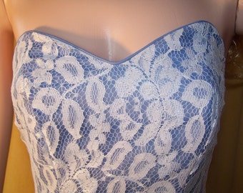 80s Strapless dress, Lace dress, Blue lace dress, party dress, prom dress, summer dress, size XS