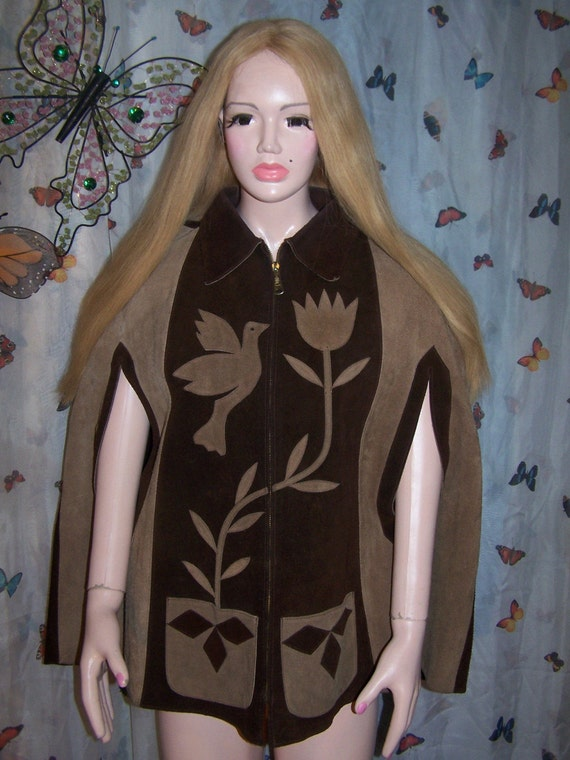 Leather Cape 1968 Peace LoVe Dove SUEDE Cape size  s / m CLEARANCE BLOW it out Price