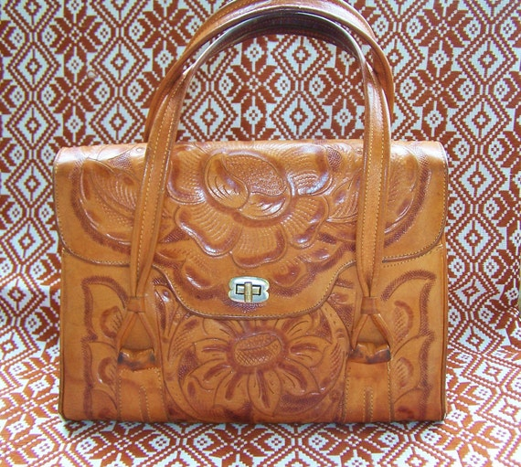 Hand Tooled Bag 70s Leather Purse