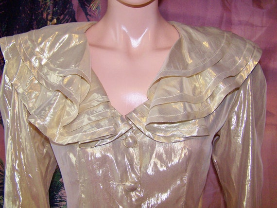 CIJ Gold LAME' Blouse 80s GLaMaRaMa Evening ToP size S CLEARANCE