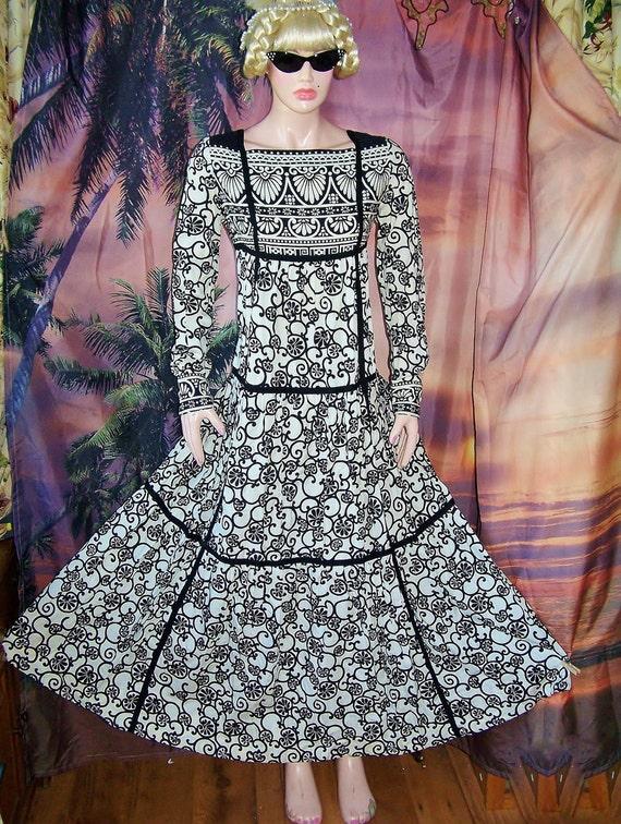 Designer Dress Damask Bergdorf Goodmans Fifth ave NY sz S M