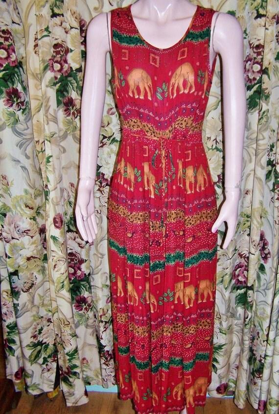 TRIBAL Dress Safari Shift Ethnic India size M