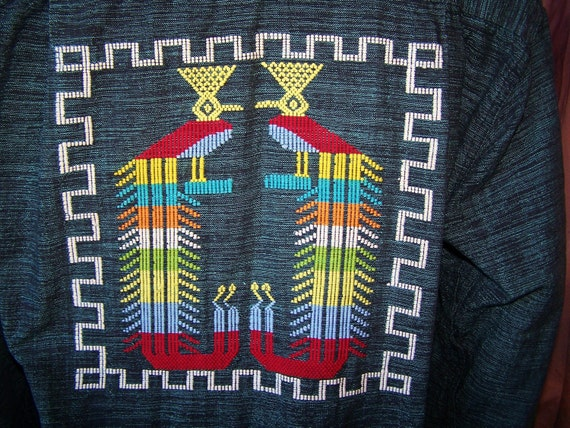 Boho Man shirt Embroidered Ethnic size L