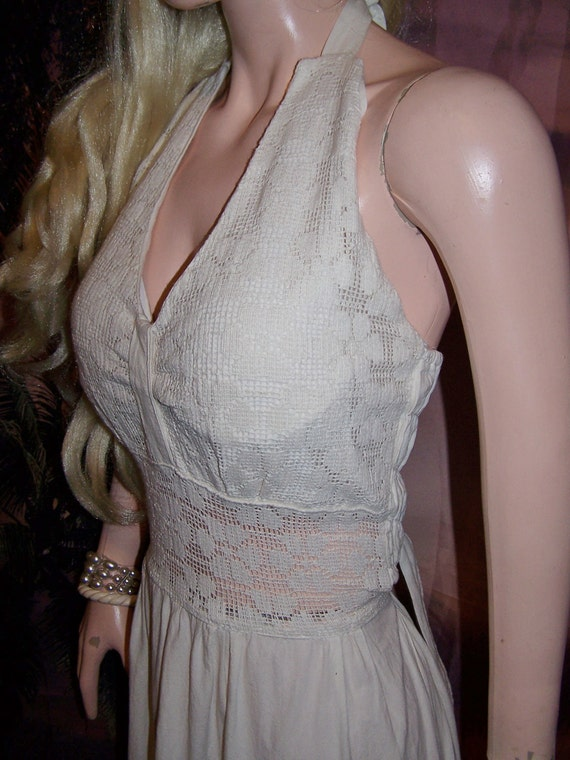 Halter Dress Sexy See Thru Lace Sundress Sz M L