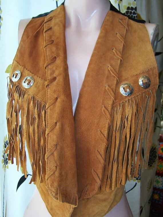 Fringe Leather Vest SOUTHWESTERN Suede & Conchos size M