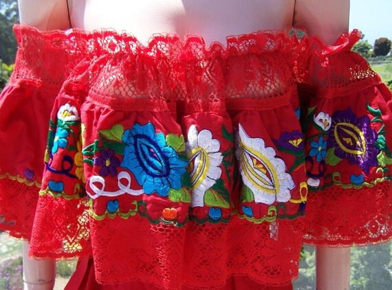 Mexican Blouse Off shoulder Embroidered Ruffle Top size L XL