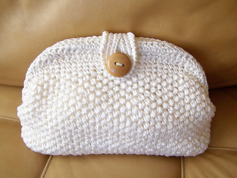 White Clutch Raffia Crochet Bag Summer by GreenMarketVintage