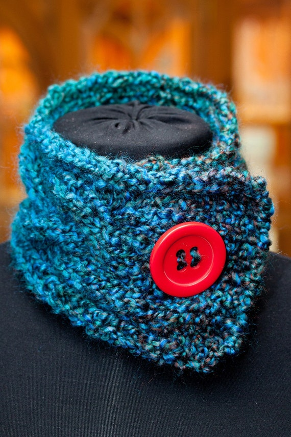 Knitted Scarf Neck Warmer Mallard Teal Blue with Red Button (Hand Knit)