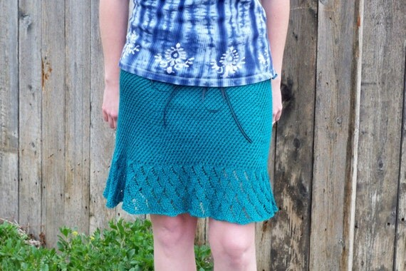 CLEARANCE SALE - Cotton Blend Twist Stitch And Lace Knit Skirt With Ribbon Drawstring In Peacock Green - Knit Clothing - Women's Fashion