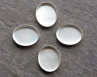 6mm x 8mm - Four Oval Sterling Silver Bezel Cups for Cabochons