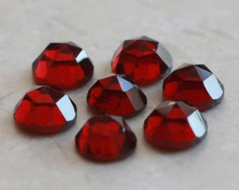 4mm - FOUR Sparkly Faceted Garnet Cabochons