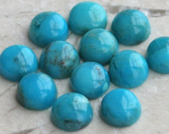 TWO Select Grade Blue Turquoise Cabochons Cab Cabs - 4mm