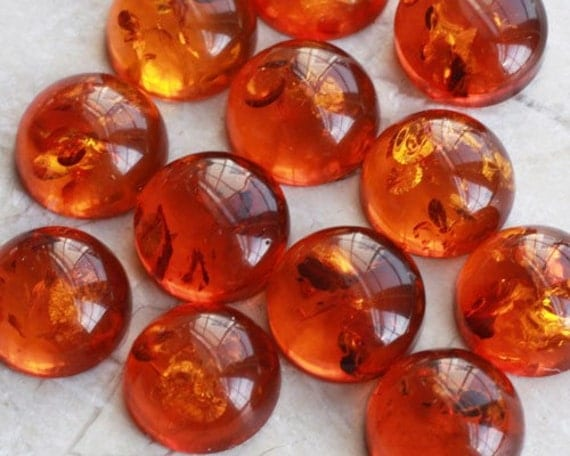 10mm Round Natural Baltic Amber Cabochons - One
