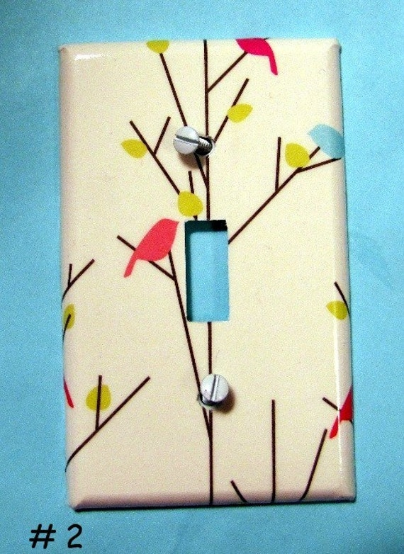Single Lightswitch cover - Birds on Trees