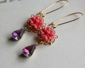 Lily and Sapphire Fuschia-Vintage Glass Jewel Earrings