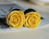 """5/8"""" (16mm) Bright Yellow Rose Flower Plugs for stretched ears."""