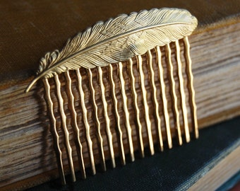 Gold Feather Metal Decorative Hair Comb Slide.