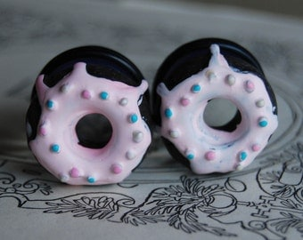 "3/4"" (20mm) Chocolate Doughnut Plugs for stretched ears.Donuts for your holes."
