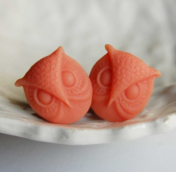 0g (8mm) Orange Sherbet Owl Head Plugs for stretched ears