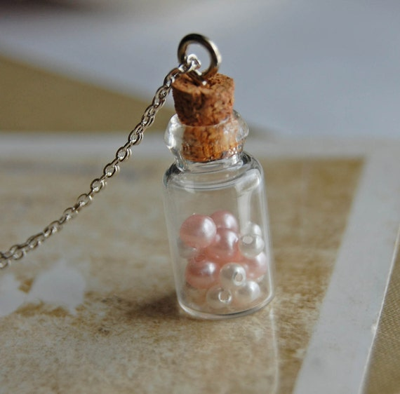 Captured-Miniature Bottle and Vintage Pearl Necklace-Pink & White Version