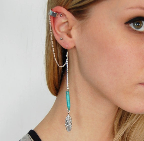 Howlite and Feather Earring and Ear Cuff