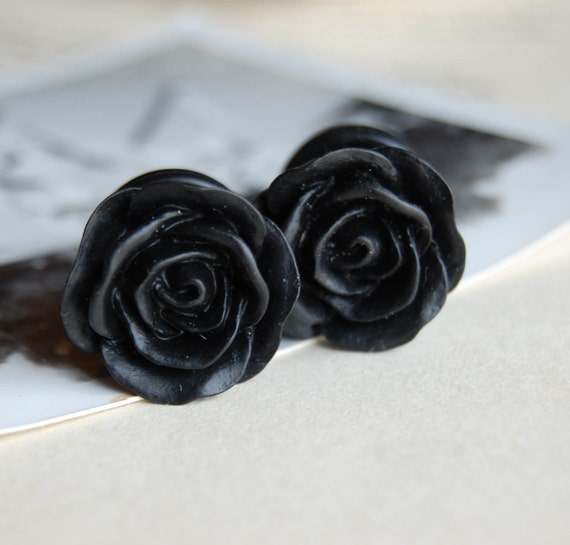 Half Inch (13mm) Black Rose Flower Plugs-for stretched ears