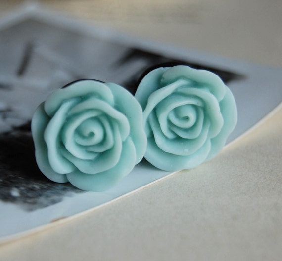 """7/16"""" (11mm) Pastel Blue Rose Flower Plugs for stretched ears"""