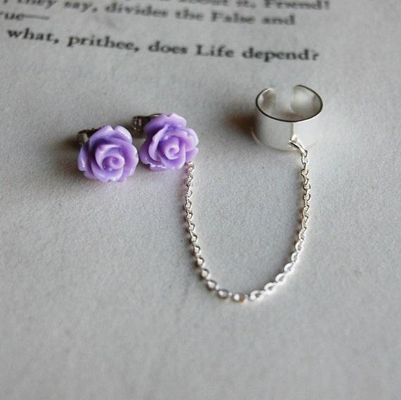 Light Purple Rose Earring/ Earcuff set