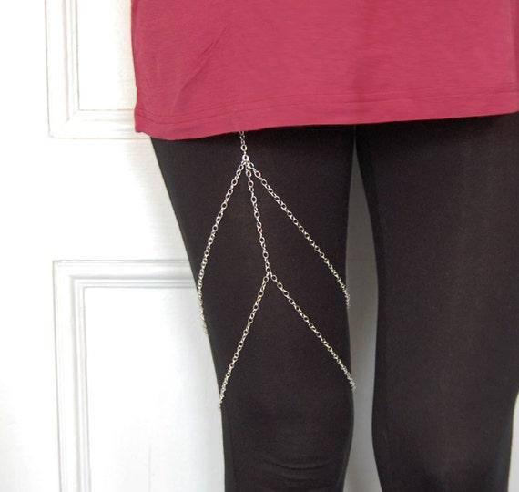 Chain Garter- Thick Silver chain Leg chain