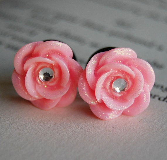 00g (10mm) Sparkle Pink Rhinestone Rose Flower Plugs-for stretched ears