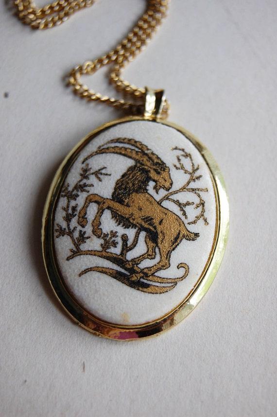 Vintage Capricorn Cameo Necklace