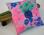 Recycled Skateboard Novelty Button Throw Pillow-Vintage Pink Polka Dots