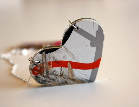 Recycled Skateboard Heart Necklace-Mod Love