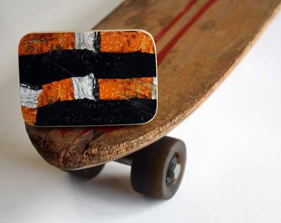 Recycled Skateboard Belt Buckle-Ash