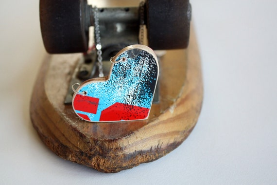 Recycled Skateboard Heart Necklace-Red White and Splat